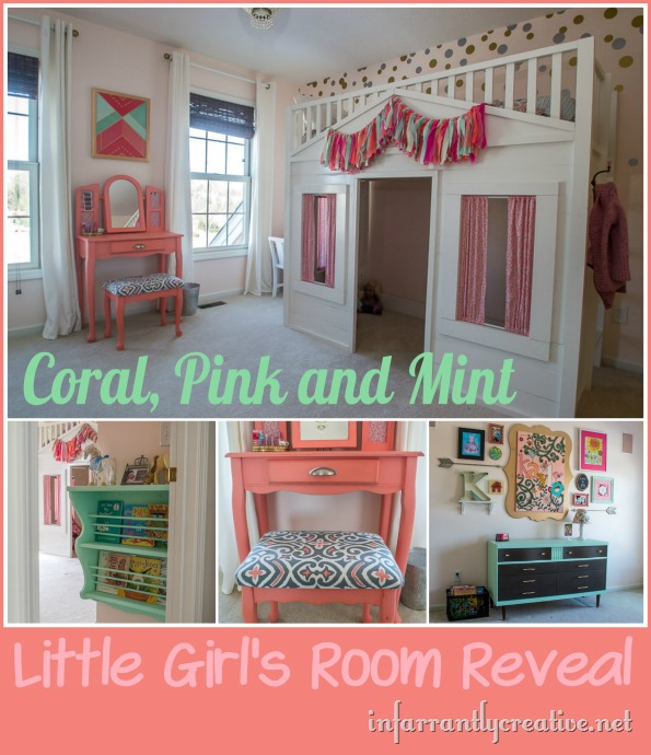 DIY HOME DECOR  Coral Mint and Pink Little Girl's Room Reveal