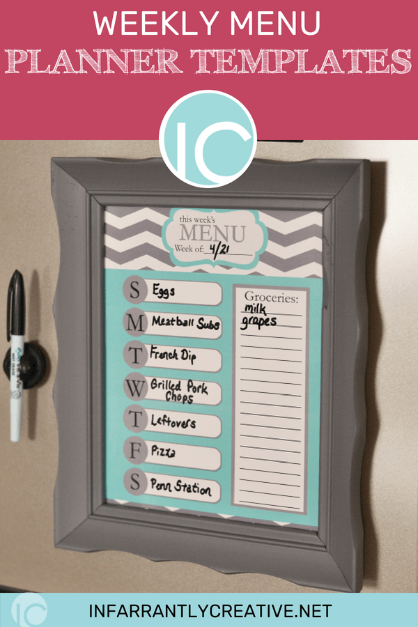 weekly menu planner printable DIY frame