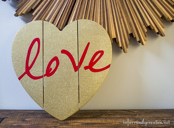 red love gold glitter heart