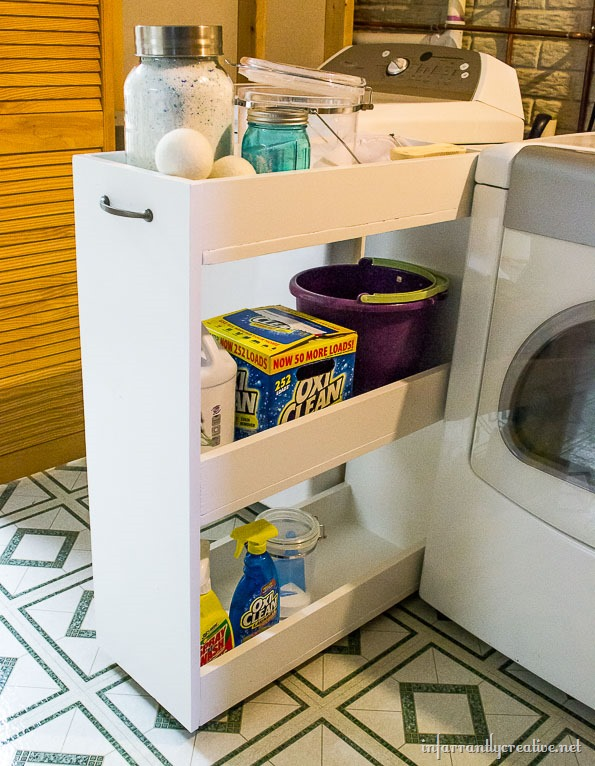 DIY laundry rolling shelf