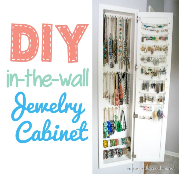 DIY In The Wall Jewelry Cabinet Storage