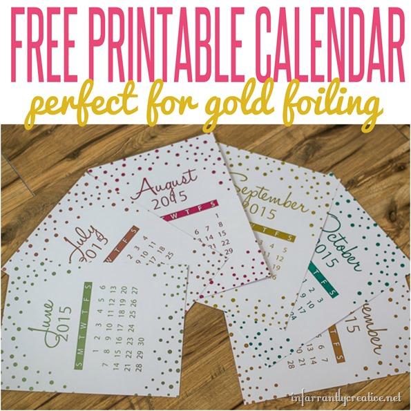Gold Foil Calendar {FREE PRINTABLE}