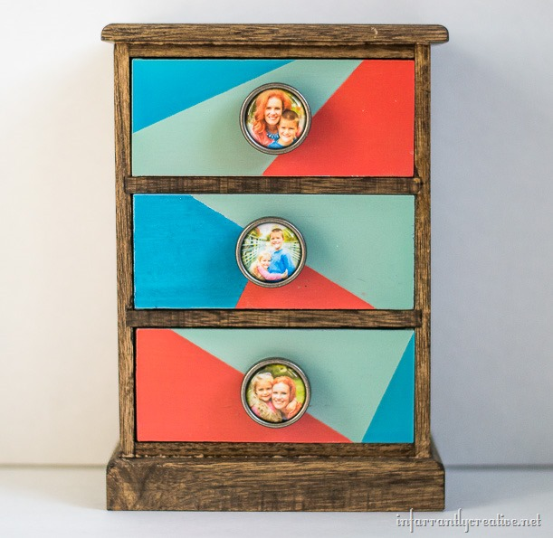 mini wood dresser color blocked