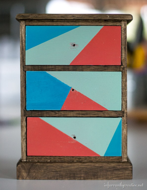 mini wood dresser painted