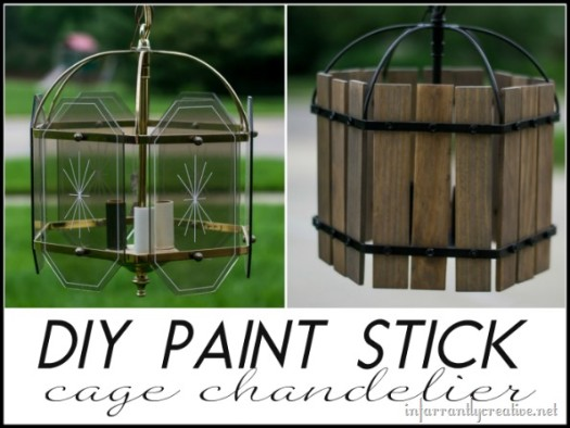 DIY paint stick cage chandelier