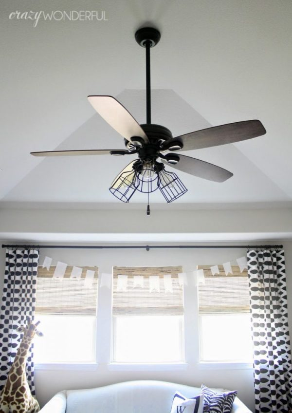 caged light ceiling fan