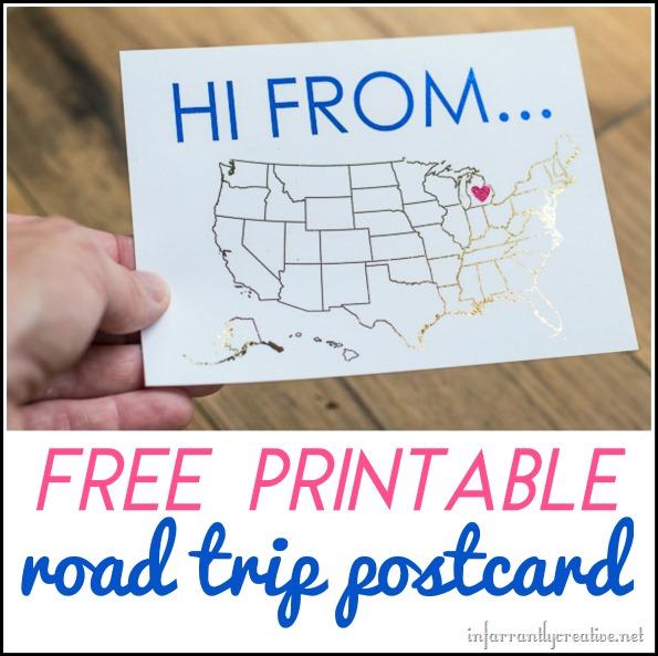 free printable road trip postcard