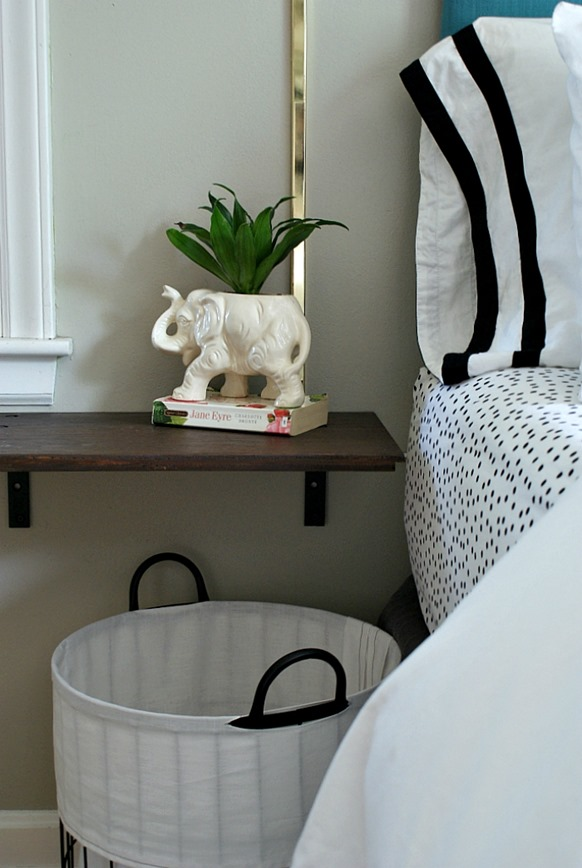 DIY Furniture ~ Repurpose an old cabinet door into a easy-to-make floating nightstand!