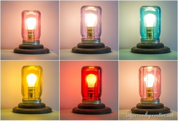DIY Home Decor ~ Make a table lamp with a colored mason jar