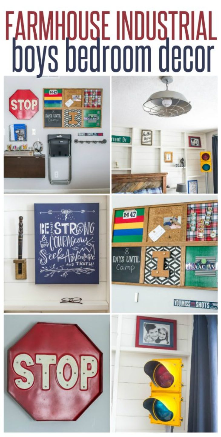 farmhouse industrial boys bedroom decor