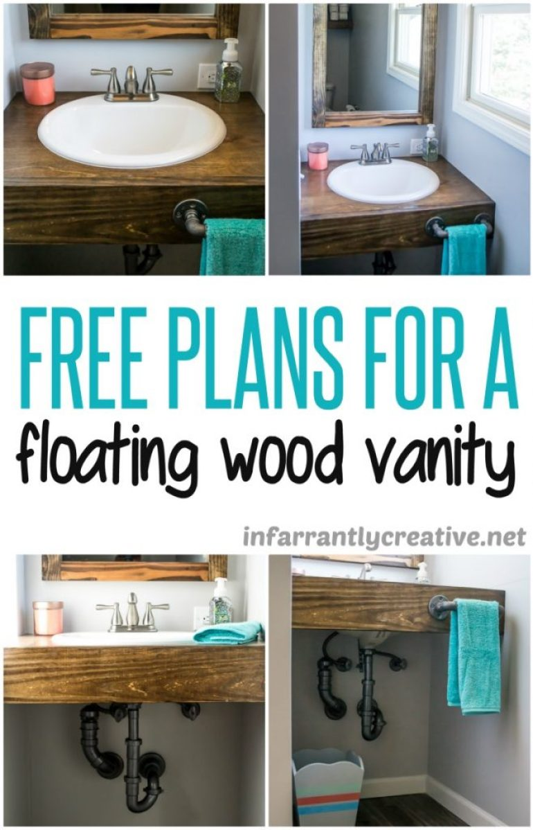 Building a floating bathroom vanity - Floating Wood Bathroom Vanity Diy