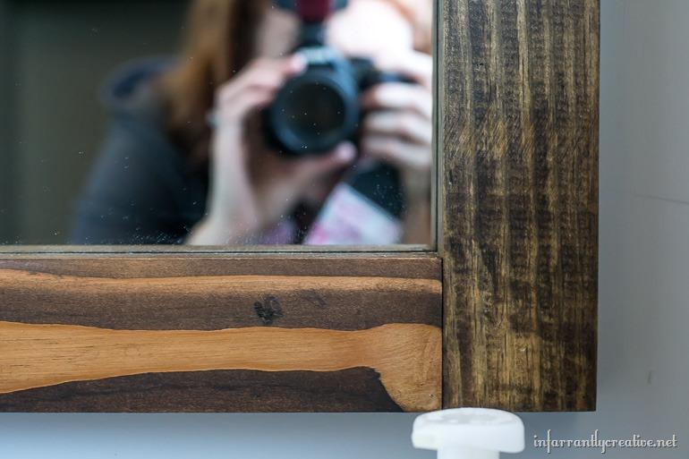 wood grain on a mirror