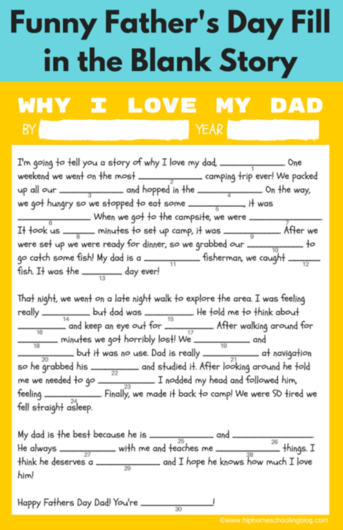 Fill-in-the-Blank Father's Day Story