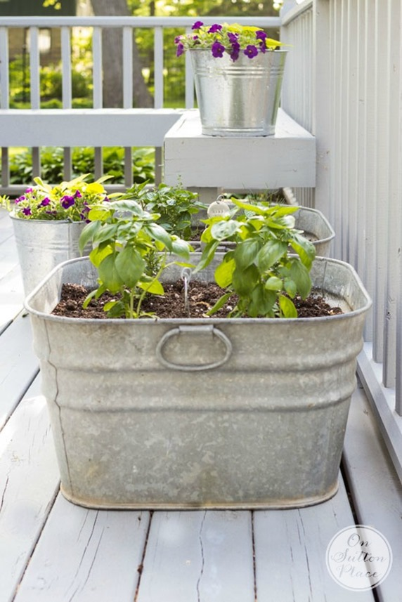 Make a container garden with vintage metal buckets!