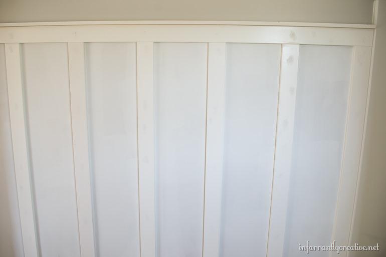 baord and batten bathroom wall