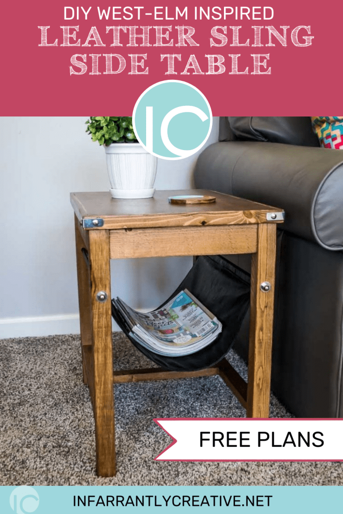 leather sling side table