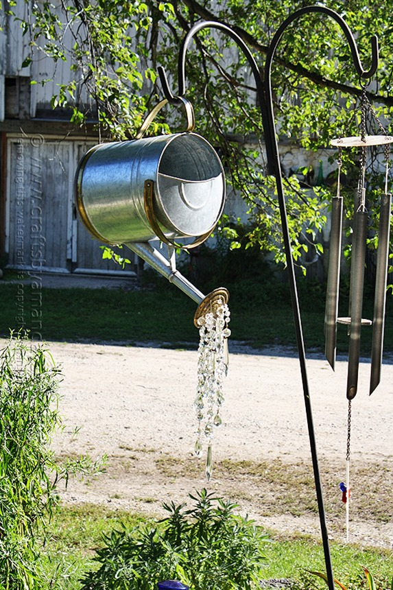 Add crystals to a watering can spout to create beautiful garden art!