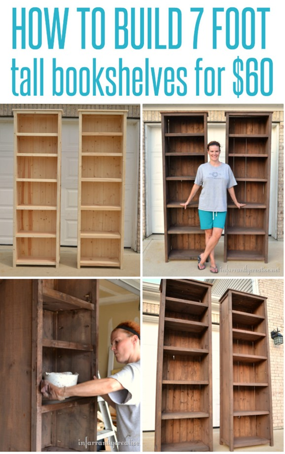 Build 7' tall bookshelves for only $60!