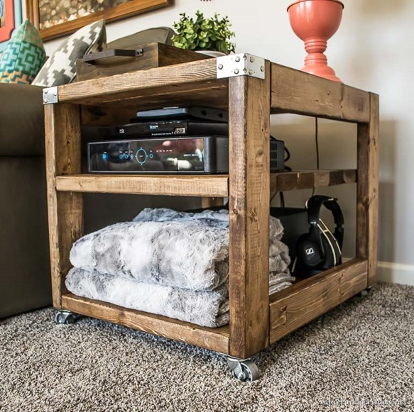 Build an industrial end table cart for $20 using only 2x4s