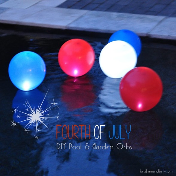 Make glowing garden or pool orbs for your Fourth of July party with balloons!