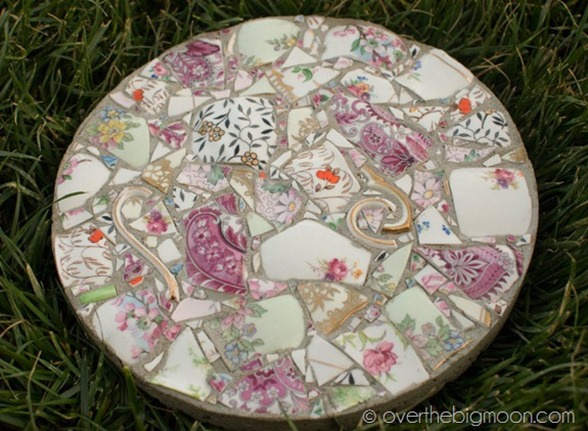 Repurpose broken or chipped china into beautiful garden stones!