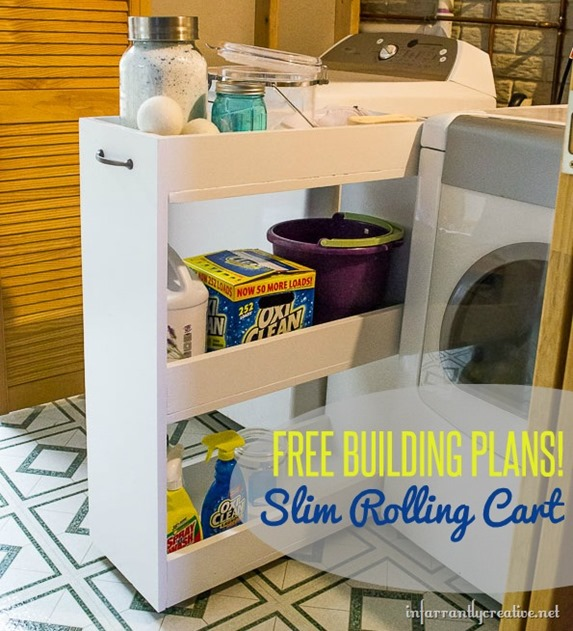 This slim rolling cart is perfect for adding storage between your washer and dryer!