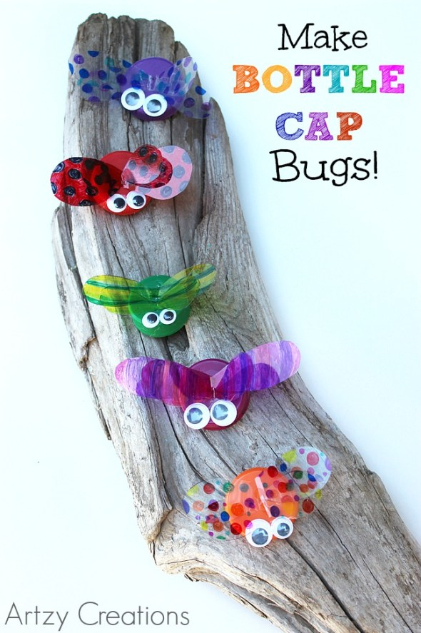 This kid craft repurposes old bottle caps into cute bugs!