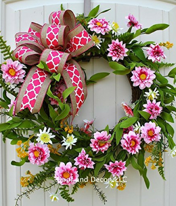 Pink Door Wreath for Spring or Mother's Day with Dahlias and Wild Flowers Door and Decor