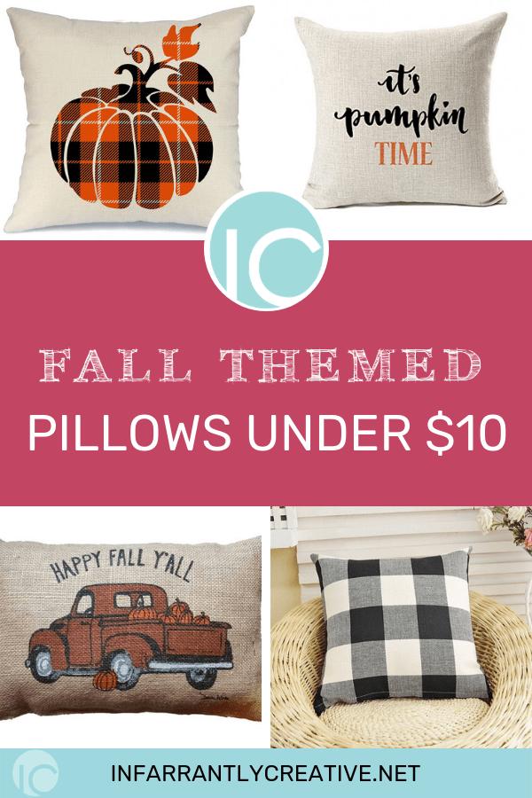 amazon fall themed pillows for under $10 pumpkins buffalo check
