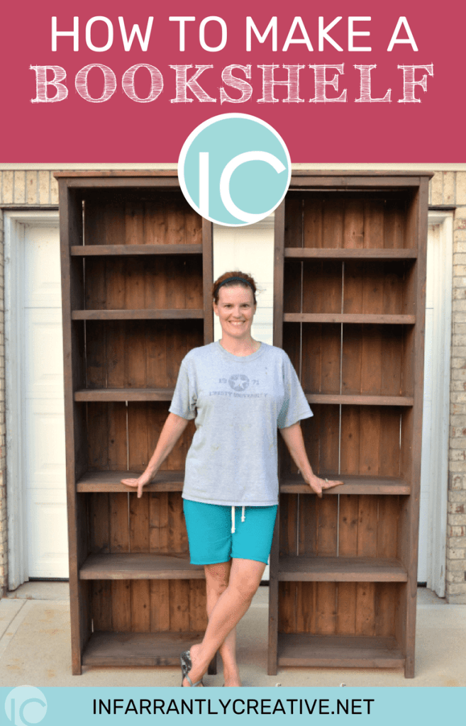 Beckie standing in front of two finished bookshelves.