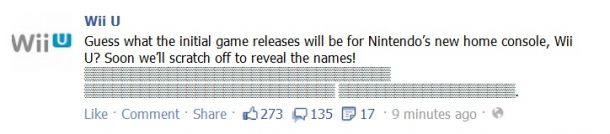 Wii U game reveal FB status