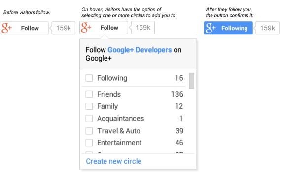 Follow button for Google+