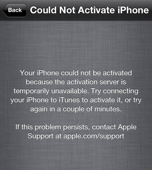 iphone activation server down