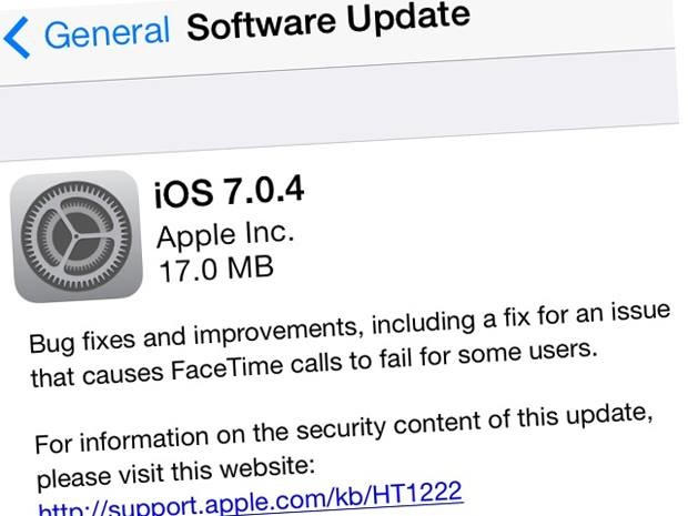 apple ios 7.0.4 update