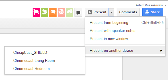 Google Drive Presentation through chromecast