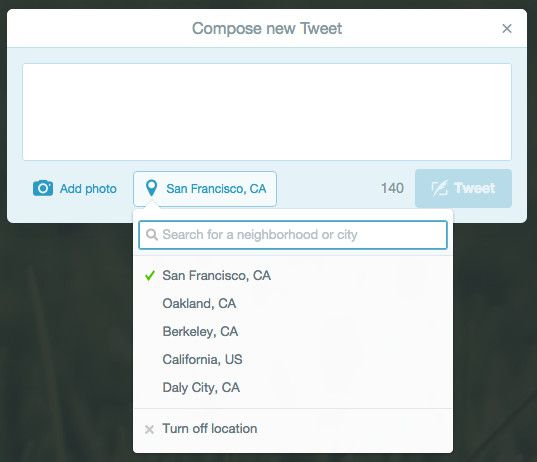 Specific Locations in Tweets
