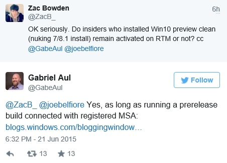 Gabe Aul tweets Windows 10 for FREE