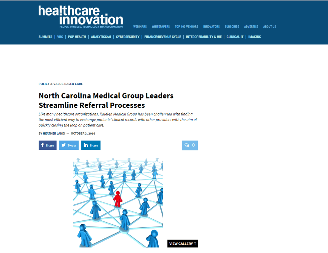 Healthcare Innovation Article About Raleigh Medical Group and Referral Management