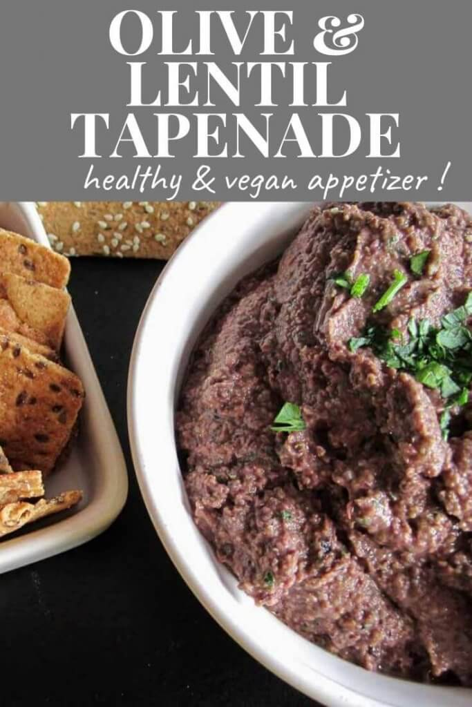 olive and lentil tapenade witth crackers for dipping