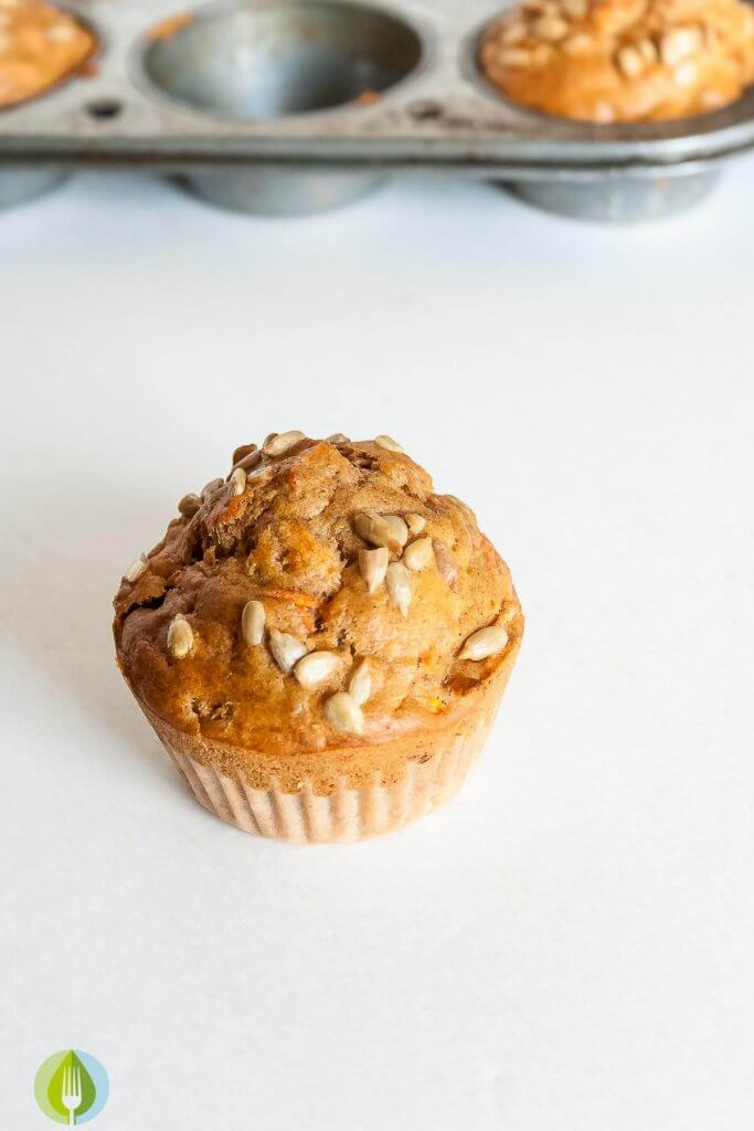 carrot muffin with sunflower seeds