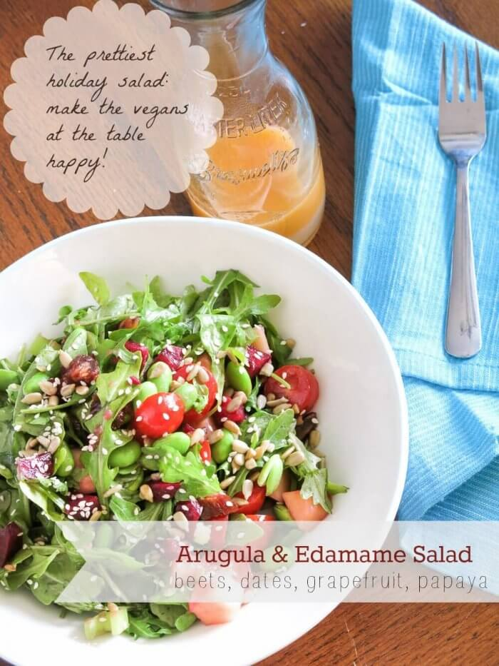 Arugula and Edamame Salad with Beets and Dates with grapefruit dressing