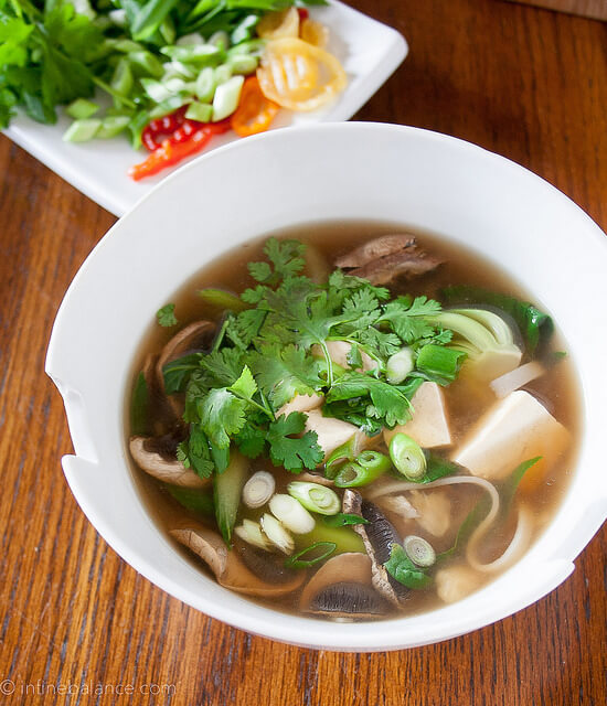 tofu noodle soup with greans