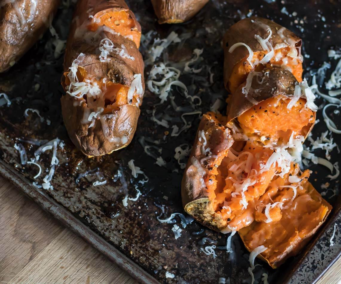Caramelized Roasted Sweet Potatoes with Smoked Cheddar