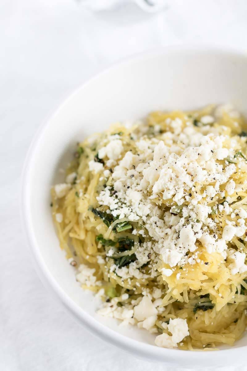 Easy Spaghetti Squash Recipe with Feta and Kale