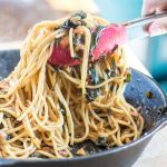 Swiss Chard Pasta with Blackened Cherry Tomatoes Recipe | The infinebalance Food Blog. This meal is ready in about 30 minutes and is easy way to get your greens into your meal plan.