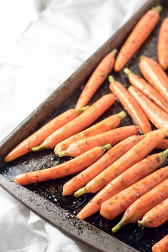 carrots ready for roasting with balsamic glaze