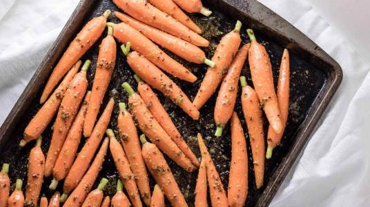 Oven Roasted Maple Glazed Carrots | Infinebalance.com vegan recipe