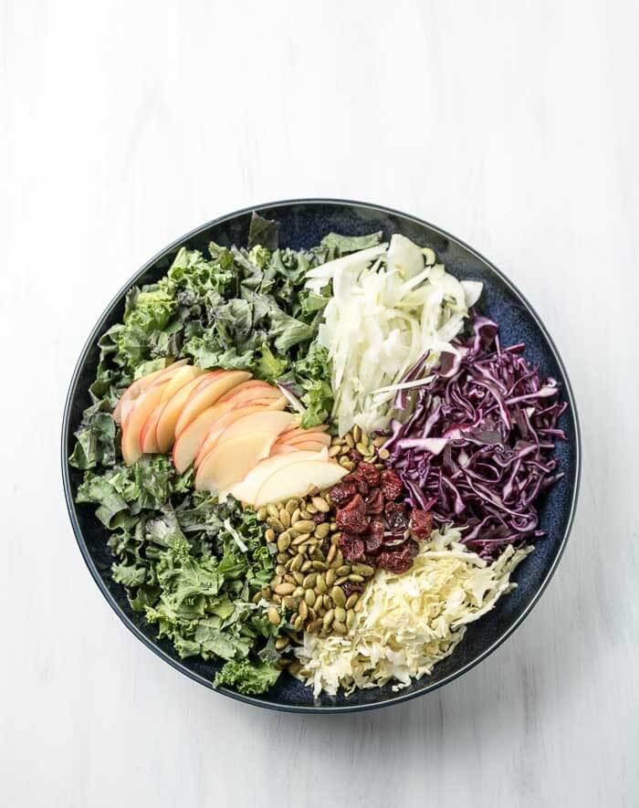 Winter Apple and Kale Salad with Creamy Garlic Dressing | the infinebalance food blog