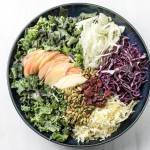 kale, apple and cabbage salad with pumpkin seeds and fennel