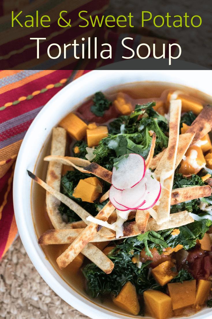 Sweet Potatoe and Kale Tortilla Soup | The infinebalance food blog. vegan dinner recipe